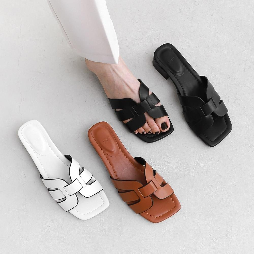 Square outsole border strap mules & slippers 9125 ♡ 2nd sold out♡