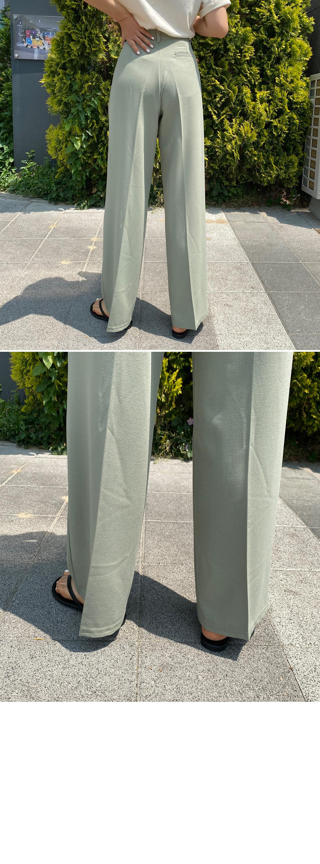 Crepe pintuck wide slacks