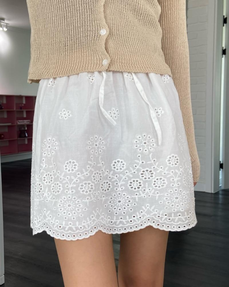 Embossed lace cotton mini skirt 裙子