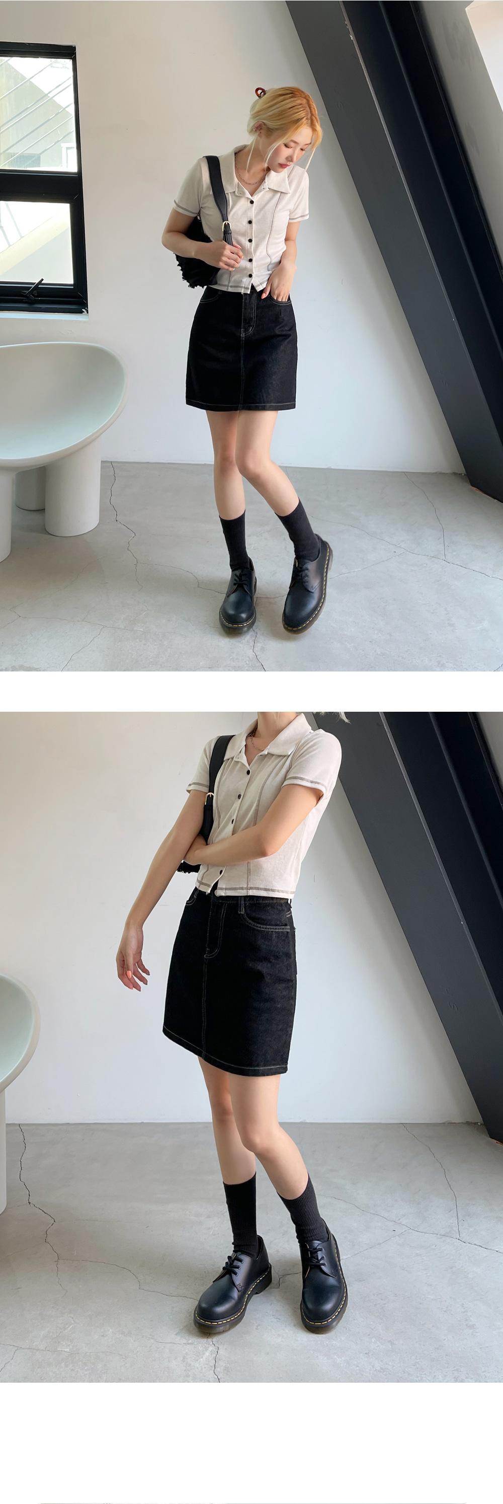 Kitsunen denim mini skirt