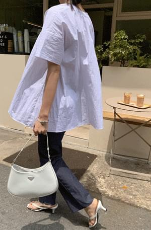 Washer shirred bustlock Boxy blouse