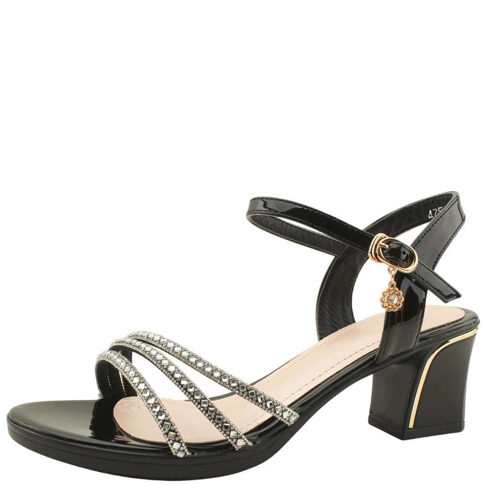 Cubic Three-wire Enamel Middle Heel Sandals Black