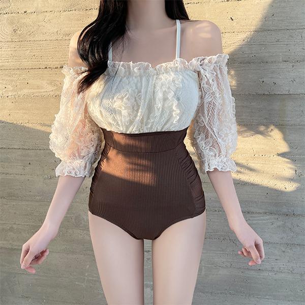 Brownie lace off-shoulder monokini swimsuit