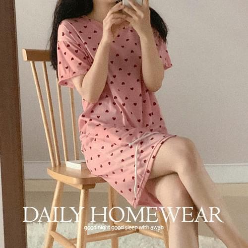 #homewear_Homewear: Mini Heart Pajama Dress