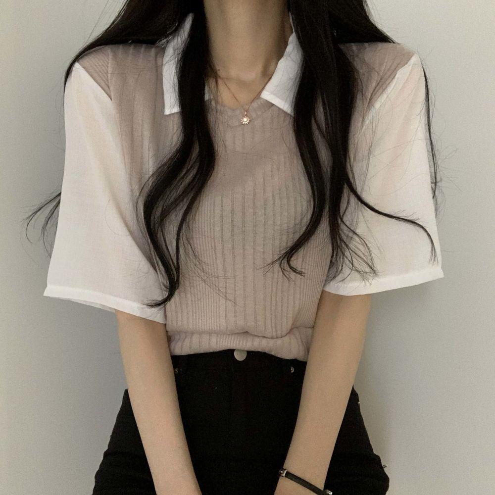 Matching Knitwear Vest Blouse