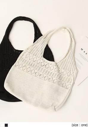 Perforated Knit Shoulder Bag