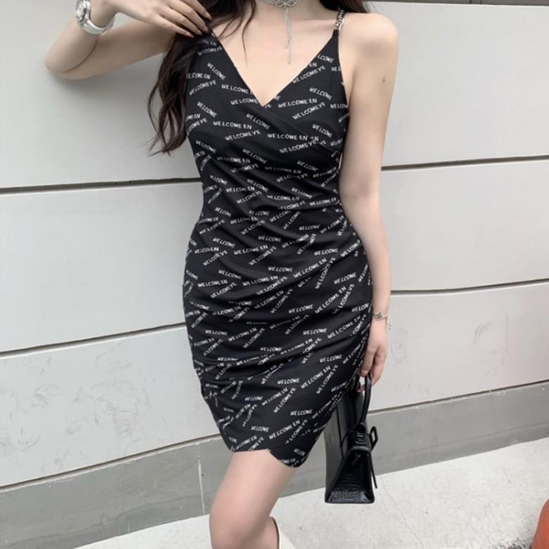 Summer Waist Line Lettering Dress