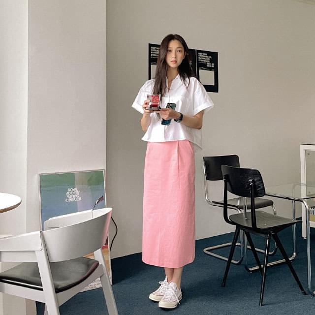 Cera slit H-line long skirt