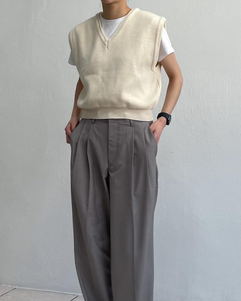 Cropped V-Neck Knitwear Vest Vest