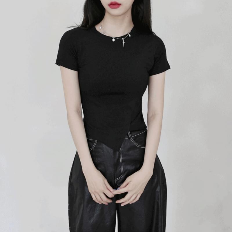 韓國空運 - Sandy diagonal line cropped T-shirt 短袖上衣