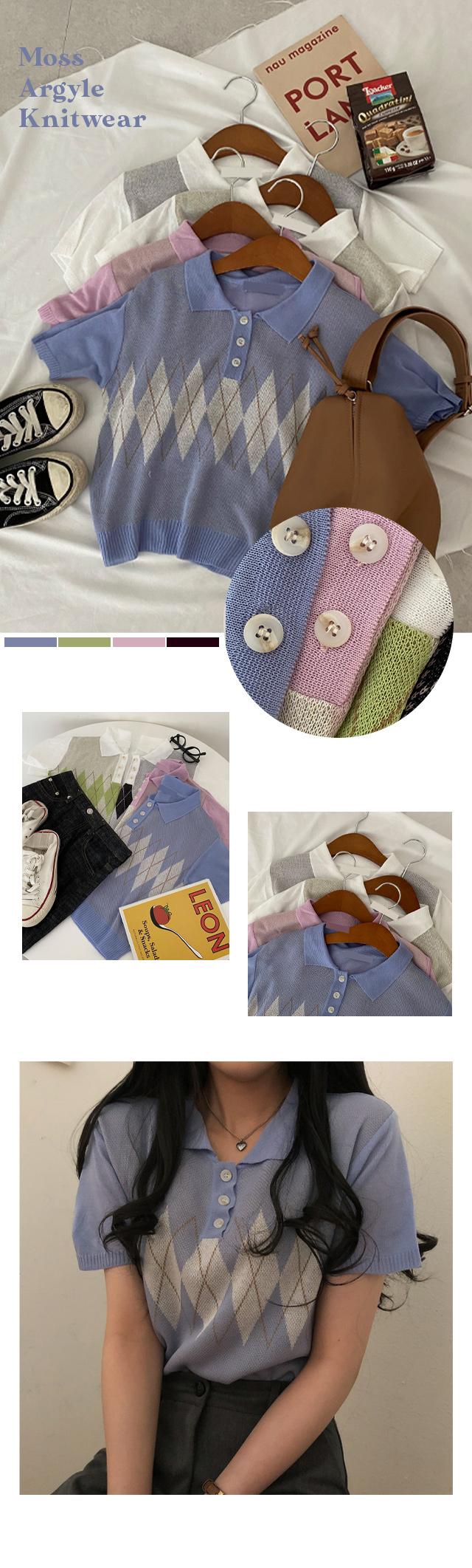 Moss Cara Argyle Short Sleeve Knitwear