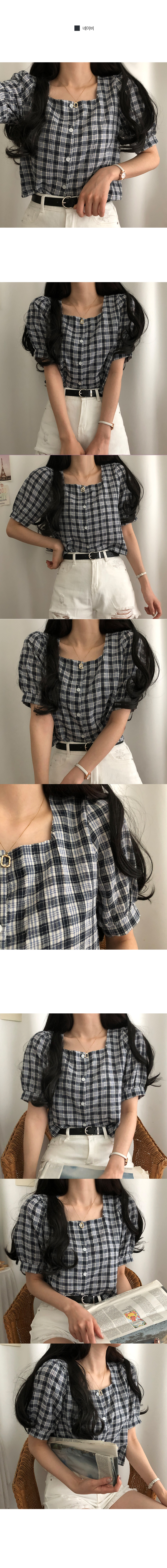 Deja vu check square-neck cropped blouse