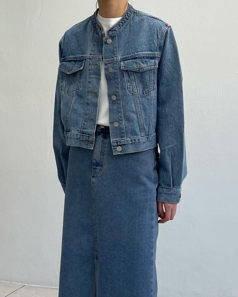 Meg China collar denim jacket