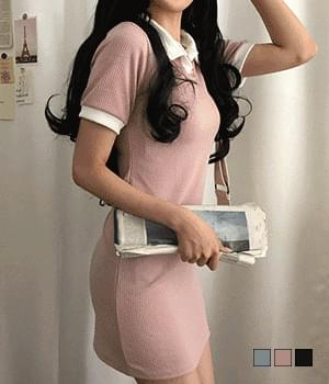 Nandala Color Matching Collar Mini Dress