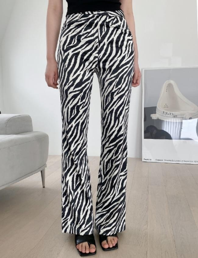 Satin zebra Flared trousers