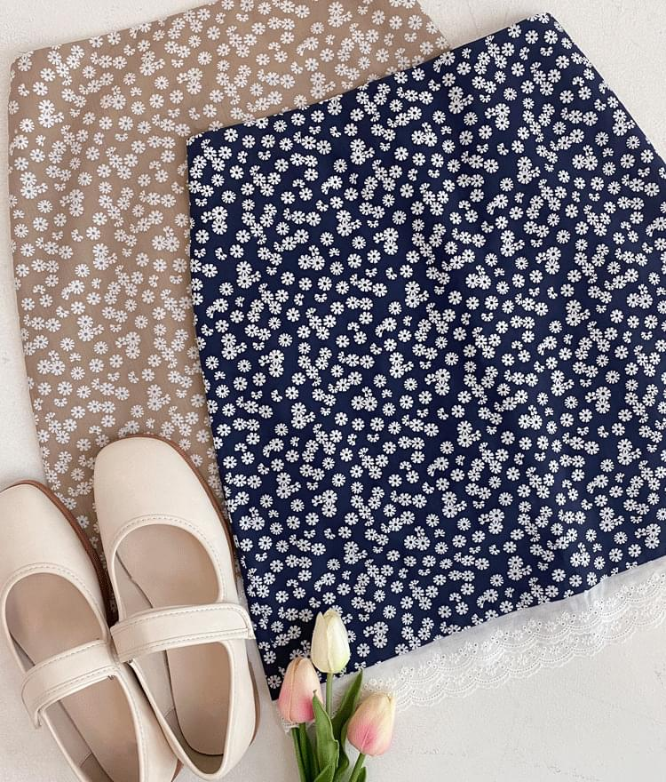 Lace Hem Ditsy Floral Skirt