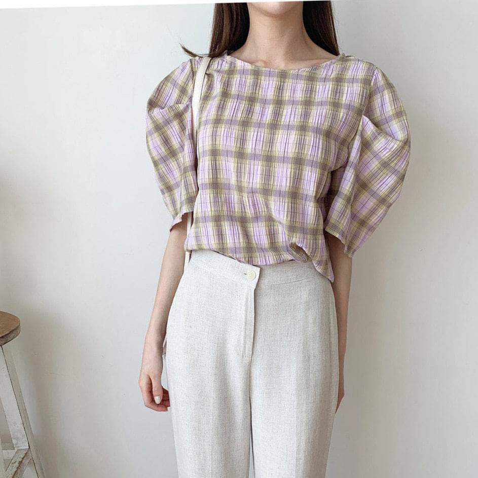 Sketch puff short sleeve blouse