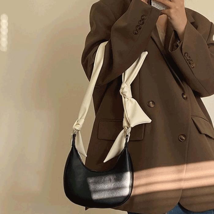 Shoulder strap ribbon hobo bag