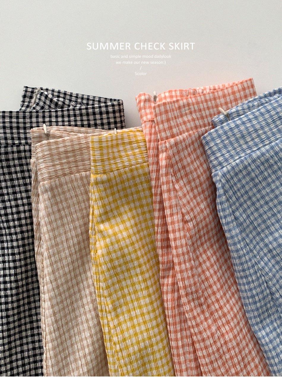 Cool Sugar Check H Long Skirt