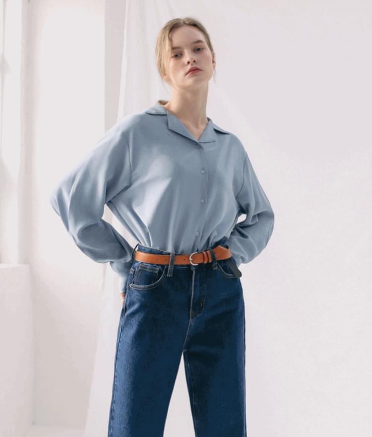 ESSAYSingle Tone Notched Collar Shirt