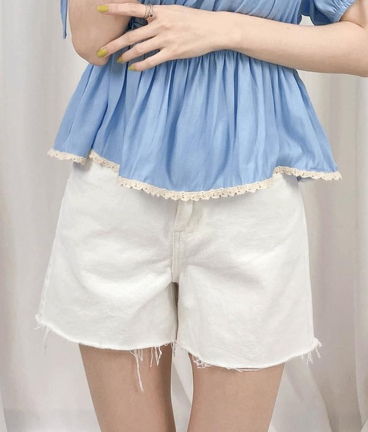 Frayed Hem Mini Denim Shorts