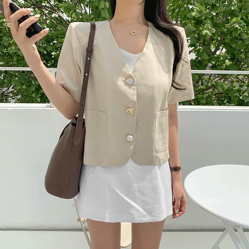 Jewel button linen short sleeve jacket