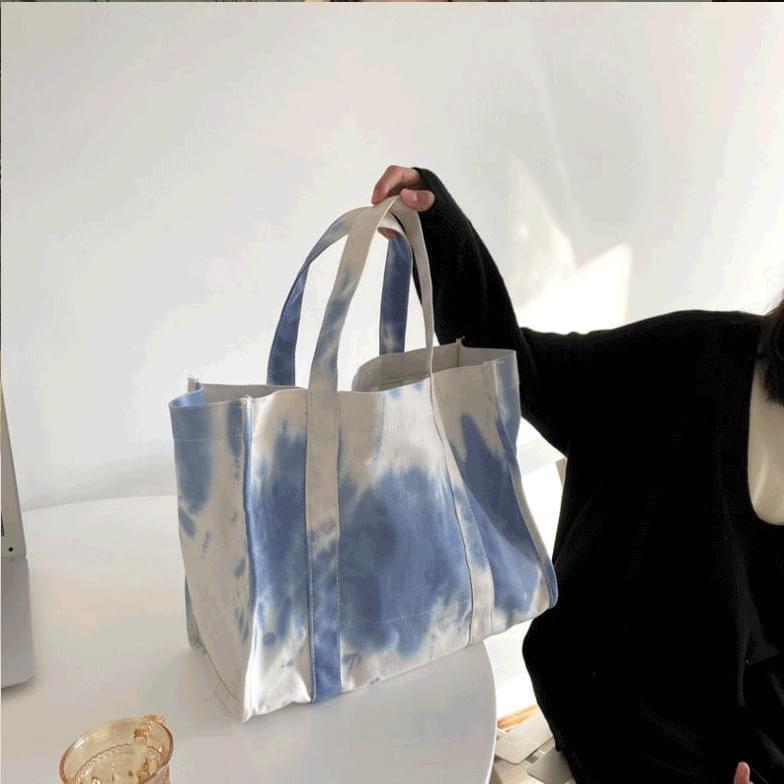 Blue Printed Big Canvas Bag