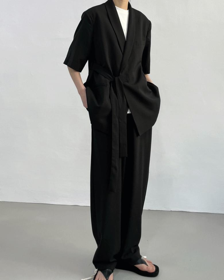Side wrap overfit short sleeve jacket