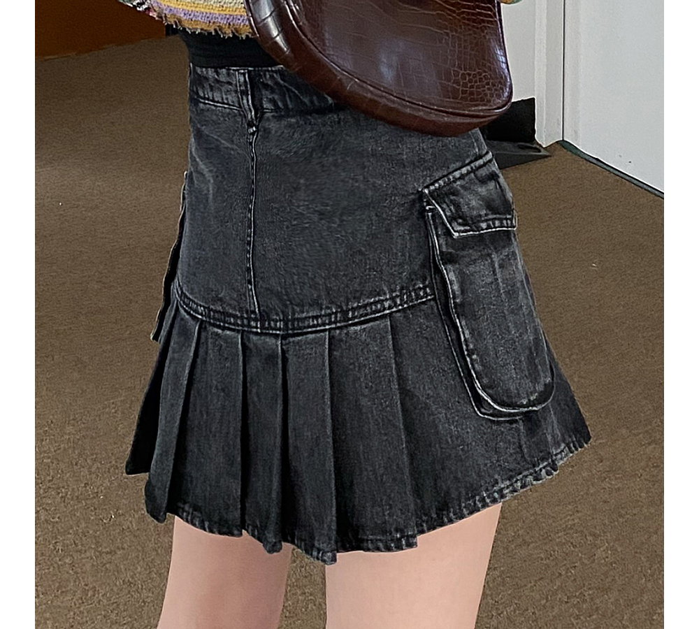 Nika Pocket Half Pleated Mini Denim Skirt