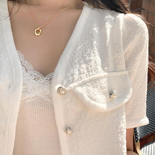 Bidding Summer Tweed Short Sleeve Jacket (Delayed delivery)