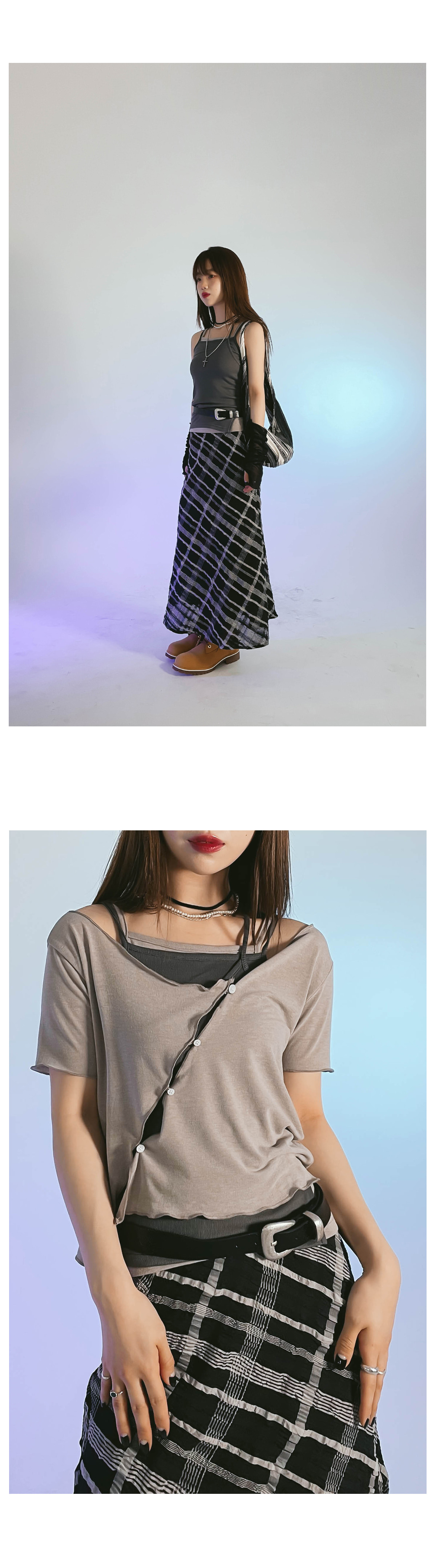 Unbald collar Sleeveless T-shirt