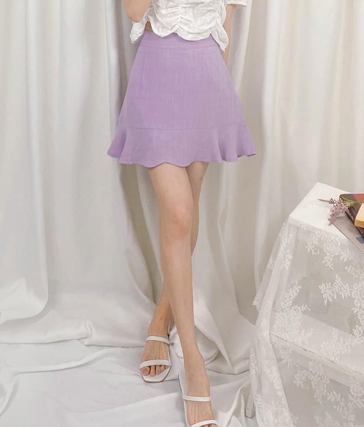 Single Tone Flared Mini Skirt