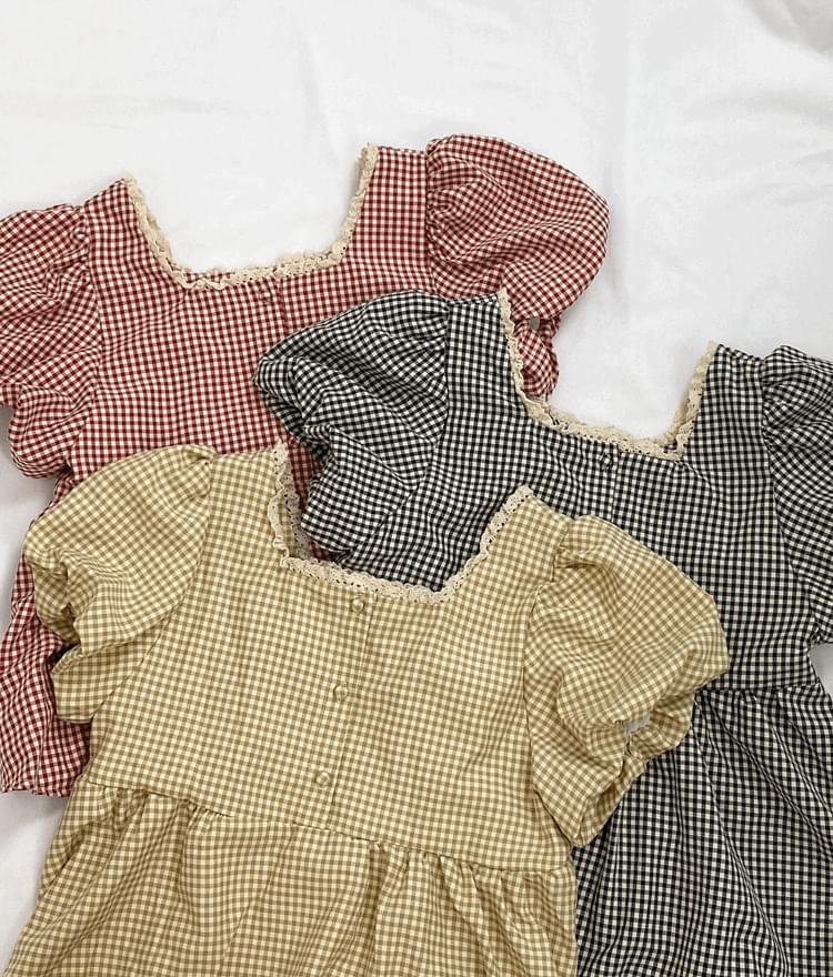 Square Neck Puff Sleeve Check Blouse