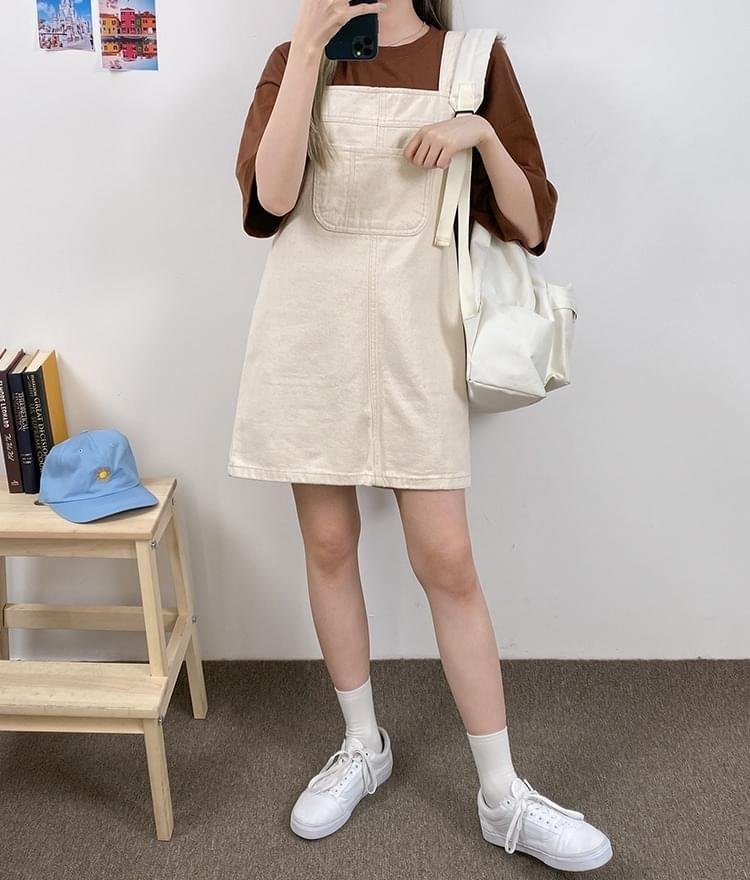 Patch Pocket Mini Overall Dress