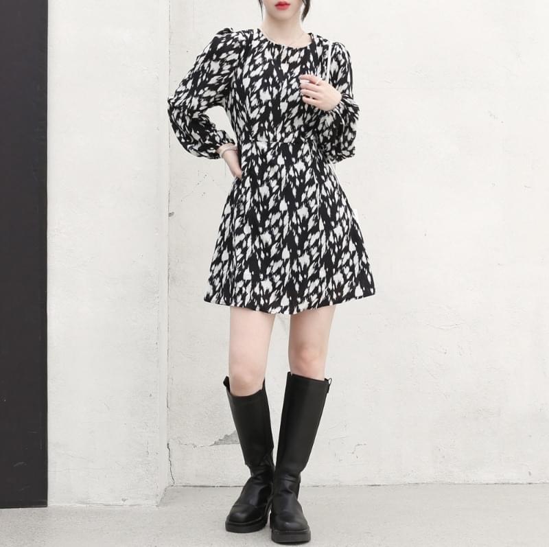 Luna Feather Printed Dress 迷你短洋裝