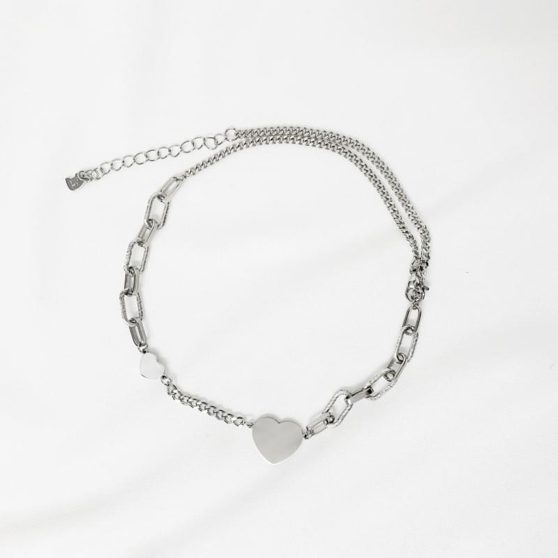Peach heart chain necklace