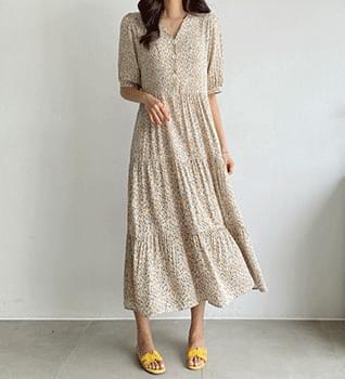 Fine Flower V-Neck String Dress #37950