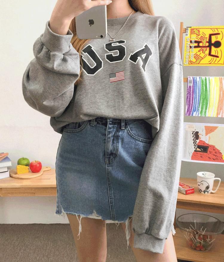 USA Print Oversized Sweatshirt