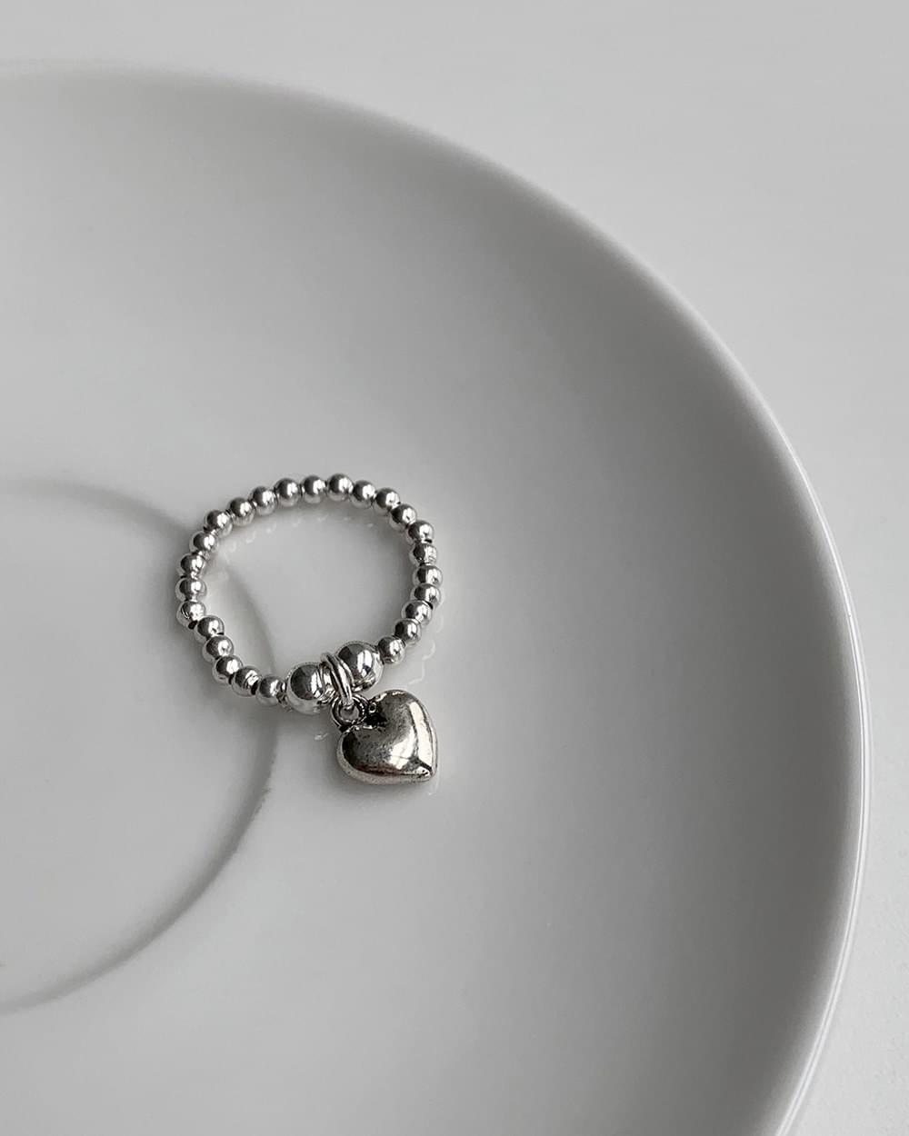 Bell ball chain heart silver ring
