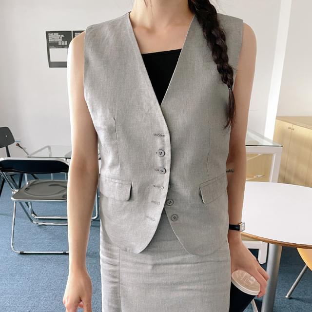 Mannish V-Neck linen vest 針織外套