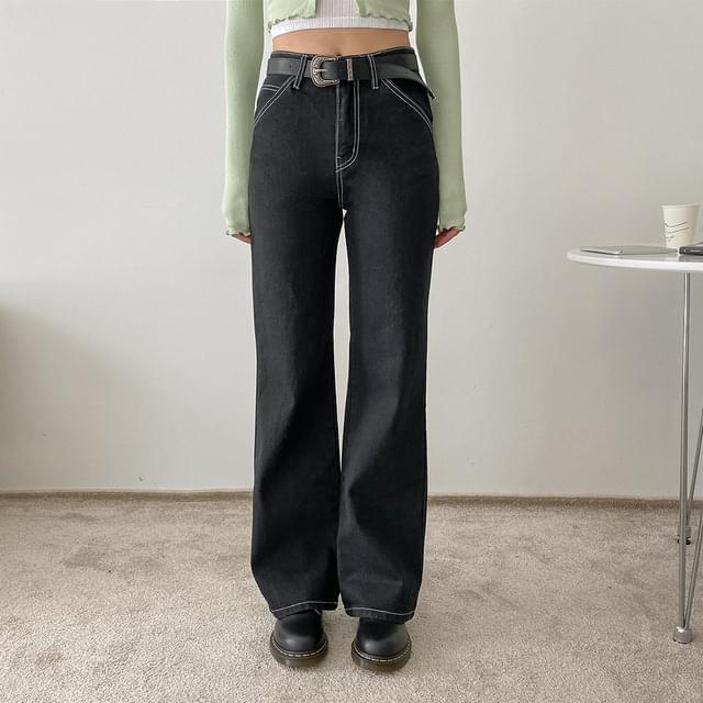 Germerine wide-stitch denim trousers