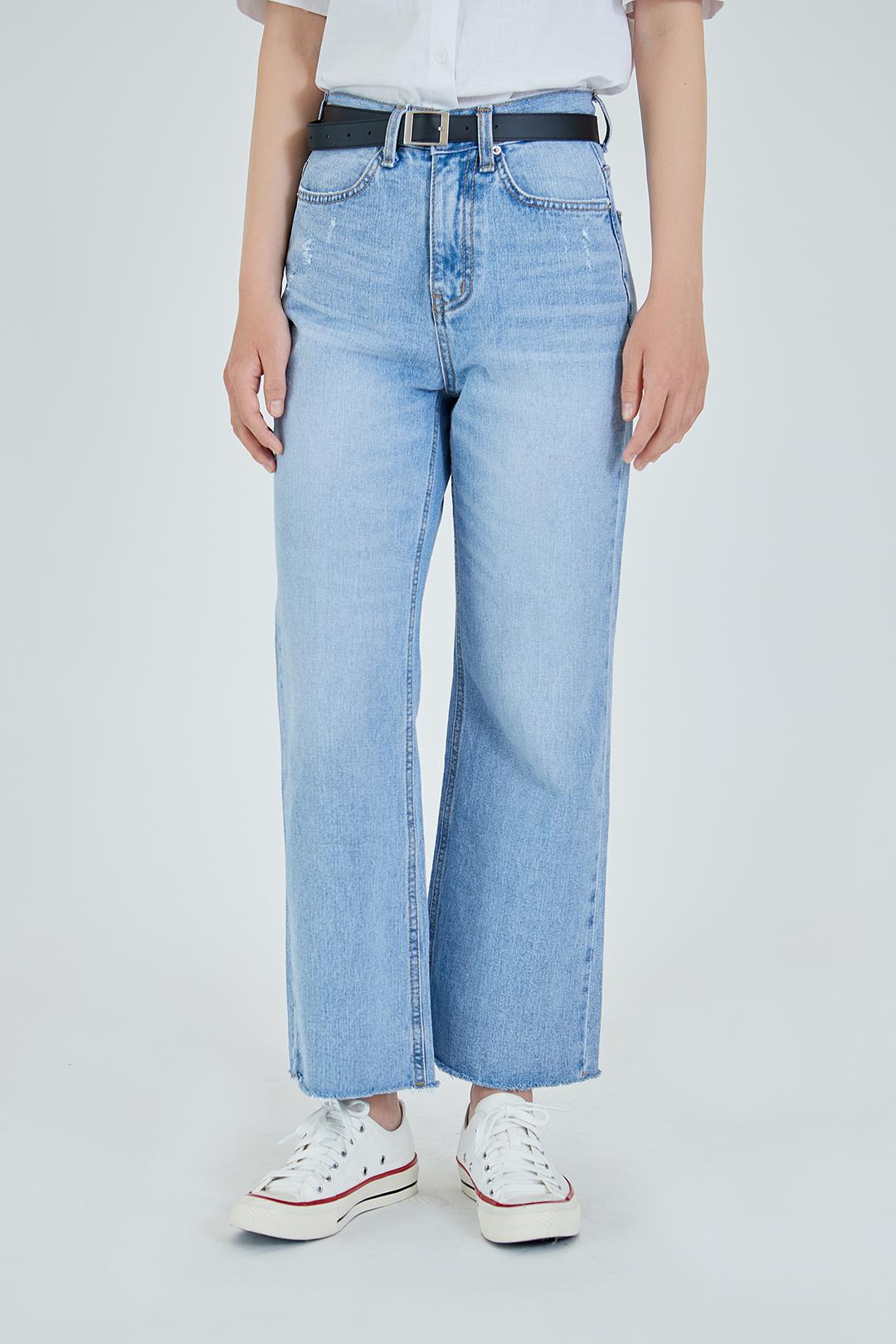 ESSAYRaw Hem Wide Leg Jeans