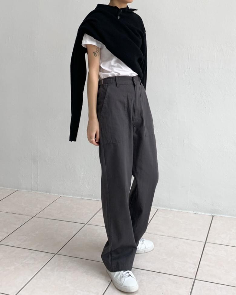 Autumn semi-wide putty pants