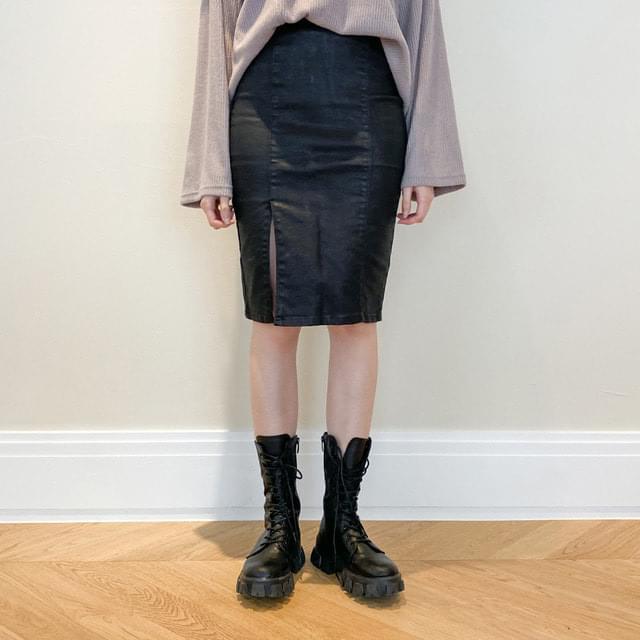 Puppy Leather Split Midi Skirt