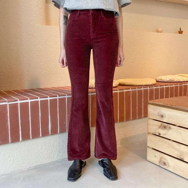 Two button corduroy slim Flared trousers