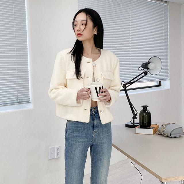 Tweed no-collar short jacket