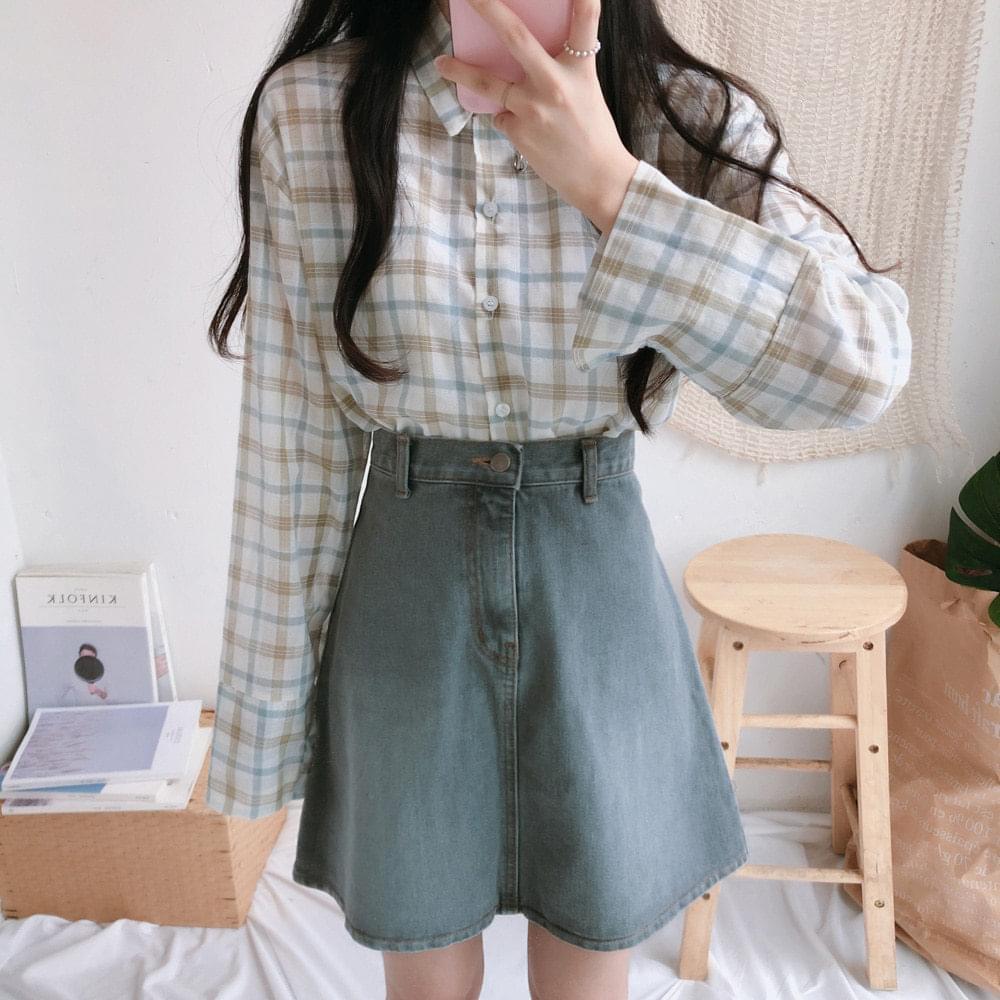 Pastel lattice check shirt shirt