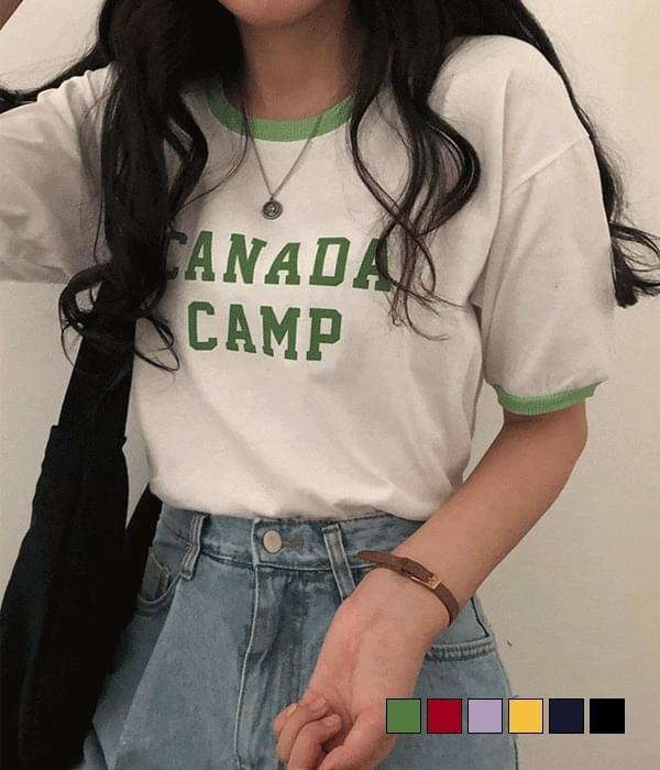 Color camp short-sleeved T-shirt