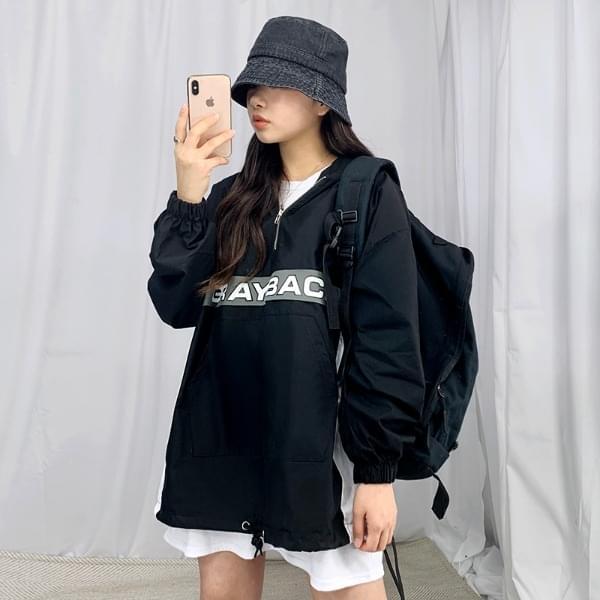 Gray Color Hood Anorak