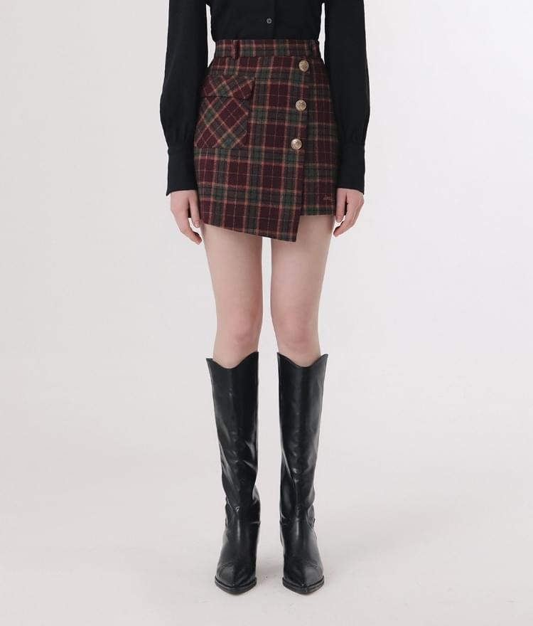 LONELY CLUBWine-Tone Asymmetrical Hem Check Skirt